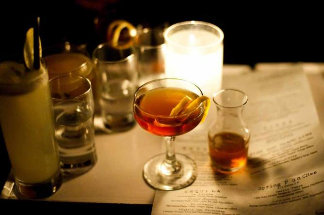 A shot of a classic and renowned cocktail at The Violet Hour bar.