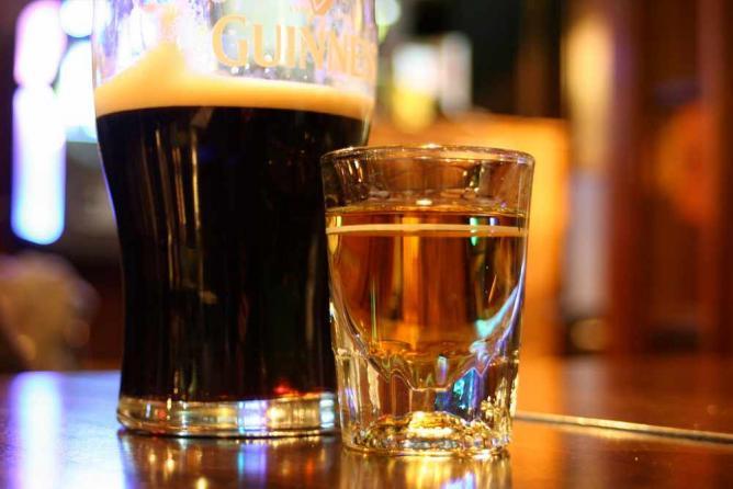 Irish beer and whiskey