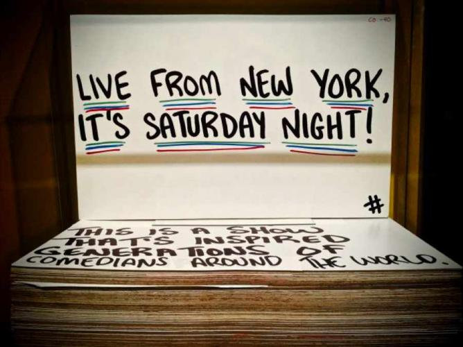 Saturday Night Live Cue Card at Saturday Night Live: The Exhibition| © Janna Berenson