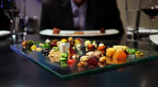 A creative plethora of different appetizers on the tasting menu at Alinea.