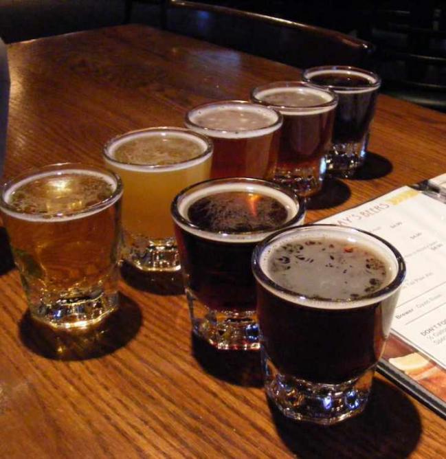 Beer sampler at Rock Bottom