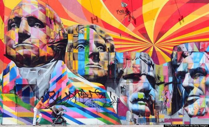 A mural of Mt. Rushmore by Eduardo Kobra     @huffingtonpost.com