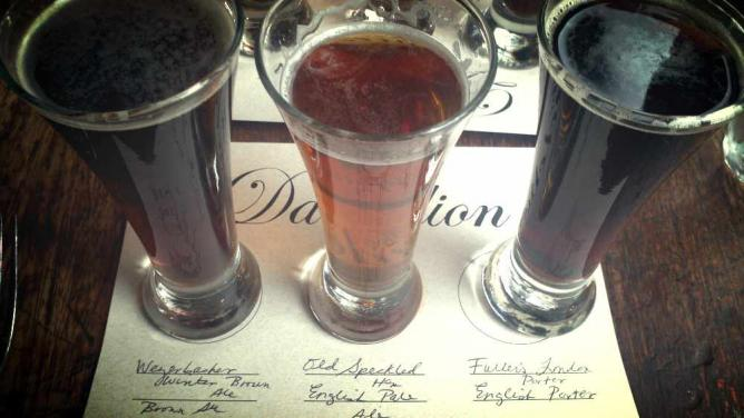 A selection of a flight of beers served at The Dandelion daily.