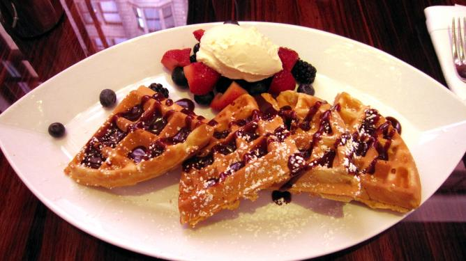 Waffles with chocolate peanut butter sauce & fresh berries