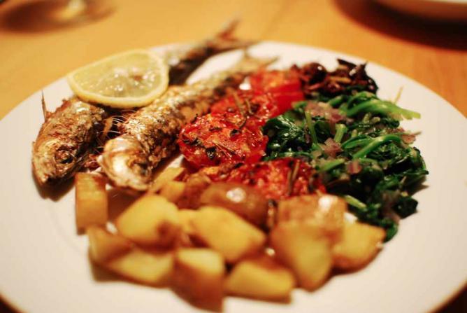 Grilled Sardines with Wild Sautéed Spinach