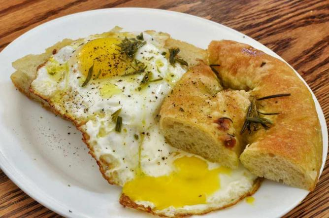 Eggs with focaccia