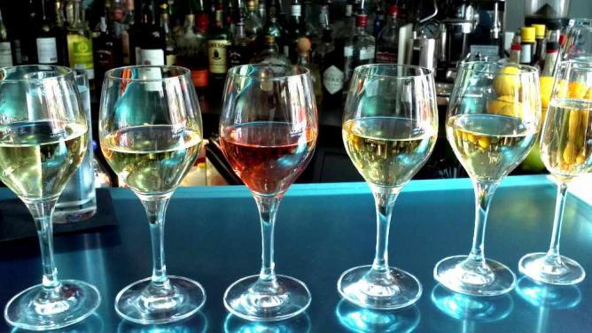 A sampling of international wines at Jet Wine Bar.
