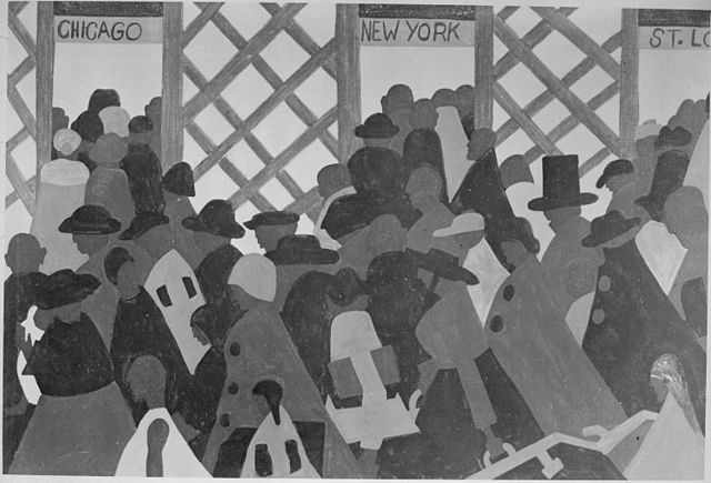 """One of """"The Great Migration"""" panels by Jacob Lawrence. Black and white photograph of color painting."""