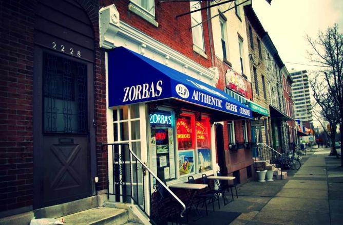 The facade of Zorba's Tavern in on Fairmount Ave in Philadelphia.