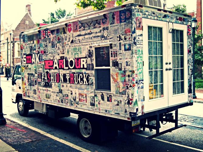 A view of the Smak Parlour Fashion Truck that you can find at many local events.