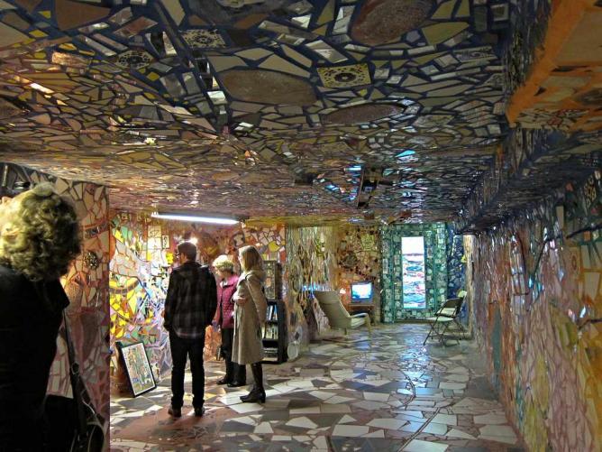An inside view of Zagar's mosaic mural at the Magic Gardens on South street.