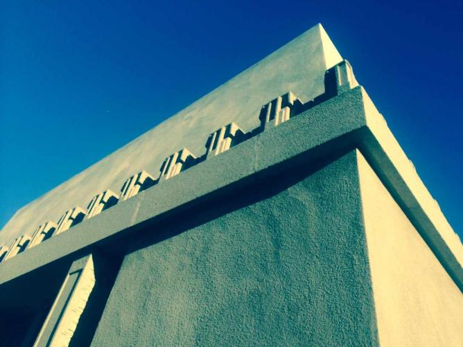 Outside view of the Hollyhock House, designed by Frank Lloyd Wright