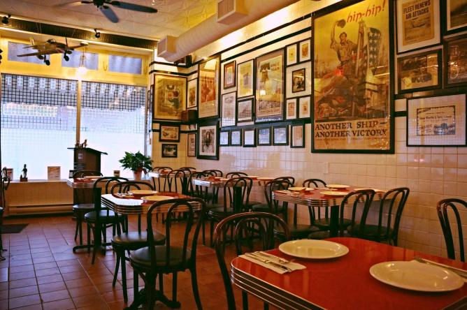 The interior of the classic 1940s-style pizzeria at Gennaro's Tomato Pie.