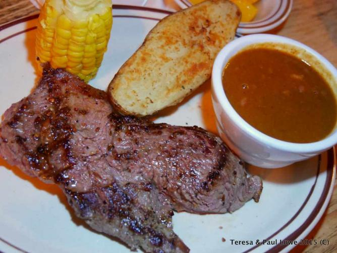 A hearty dinner like this is available at the ranch house cooked to order