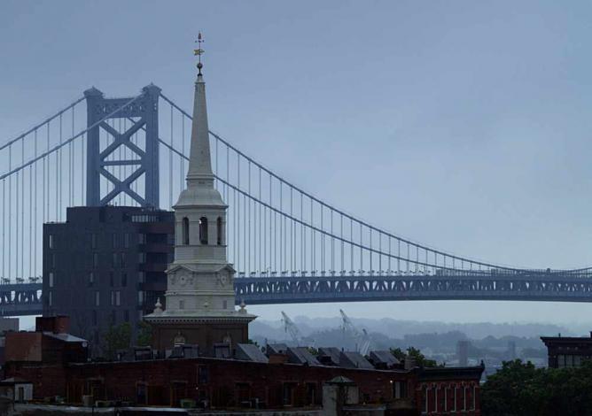 Rain on Christ Church Steeple