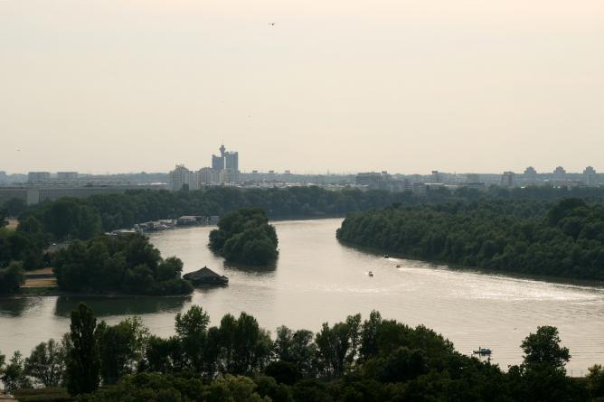 Confluence of rivers Sava and Danube