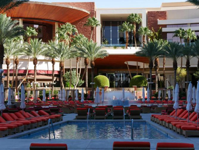 The Red Rock Resort Casino and Spa offers its guests an opulent swimming pool and spa, along with luxurious cabanas