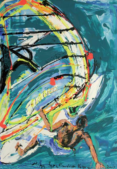Mina Papatheodorou – Valyraki, Windsurfer, Acrylic on Canvas, 138x98 cm, 2006 | Courtesy of Citronne Gallery
