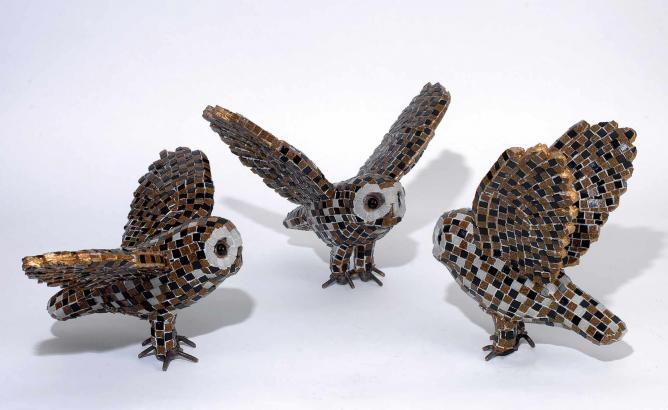 Aphrodite Litti, Owls. Metal, Murano Tesserae, 2015 | Courtesy of Citronne Gallery