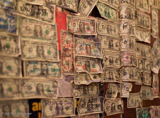 O'Doherty's wall of dollar bills