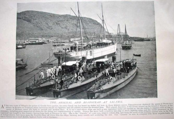 Greek torpedo boats and tender ship, Salamis 1897 | © Cplakidas/WikiCommons