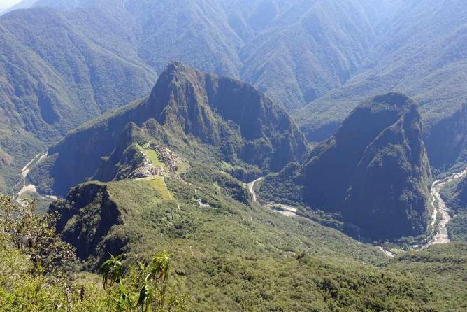 Aerial view of Urubamba Valley and Machu Picchu