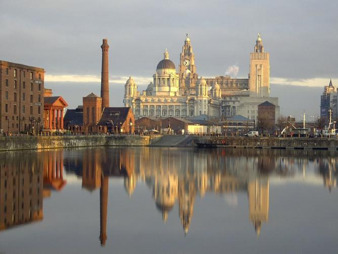 Liverpool - three graces from the docks   © Kevin Jump/Flickr