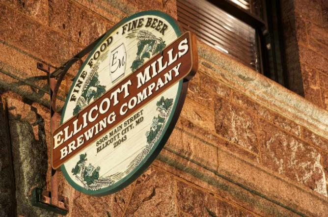 The outside of Ellicott Mills Brewing Co.