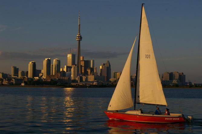 The Toronto skyline as seen from the Toronto Harbour