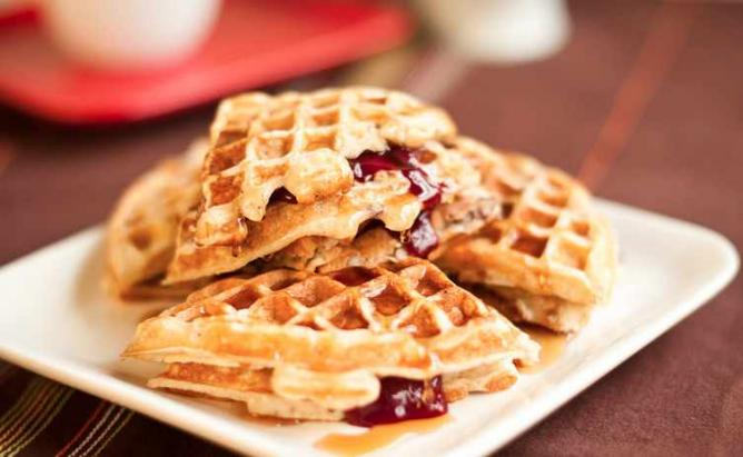 Pecan oatmeal waffles