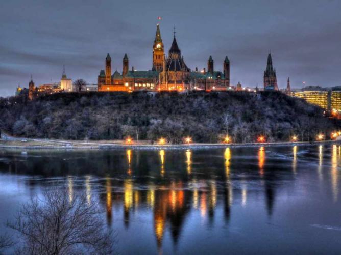 Dawn at Ottawa's Parliament Hill