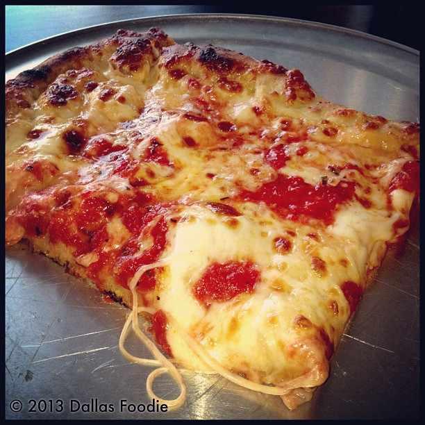 A square slice at Zoli's NY Pizza in Dallas.