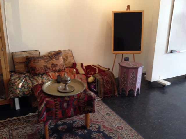 Middle Eastern rugs and furniture on display at the Markaz
