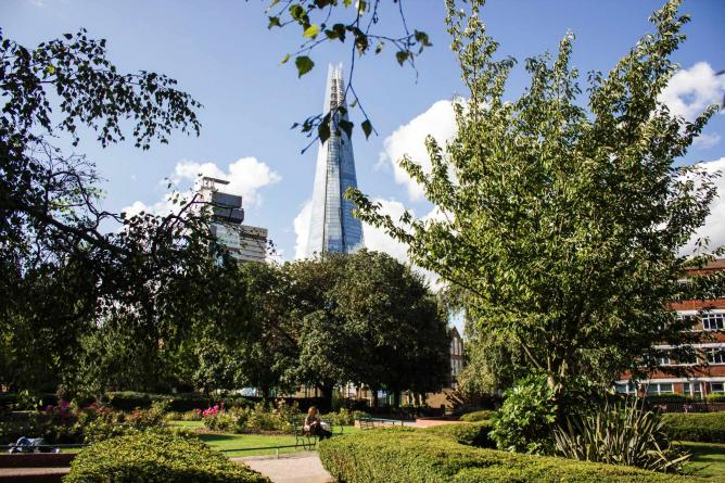 View of The Shard at Leathermarket Gardens | Courtesy of Lamarr Golding