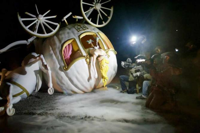 The wreckage of Banksy's Cinderella carriage installation   Courtesy of Stefan Hunt