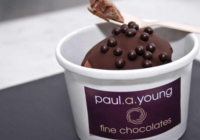 Paul A Young's sea-salted caramel ice cream topped with 70% dark chocolate and solid chocolate pearls | © James Cronin/Flickr