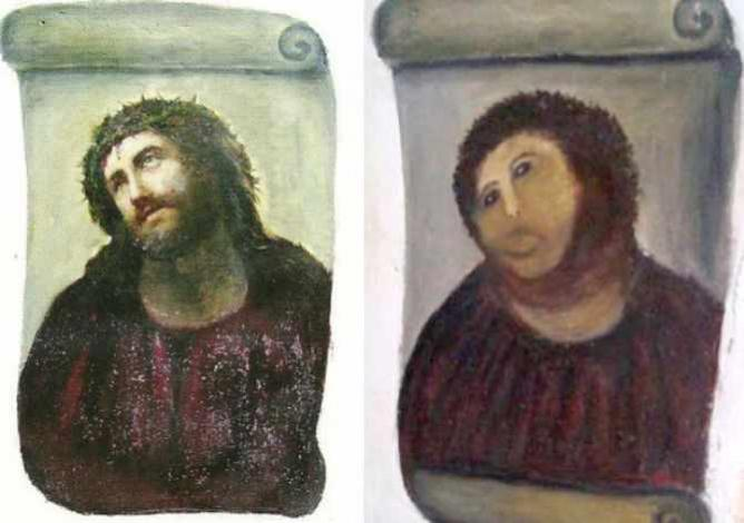 Elías García Martínez's original Ecce Homo and Cecilia Giménez's restoration | © OgreBot/WikiCommons