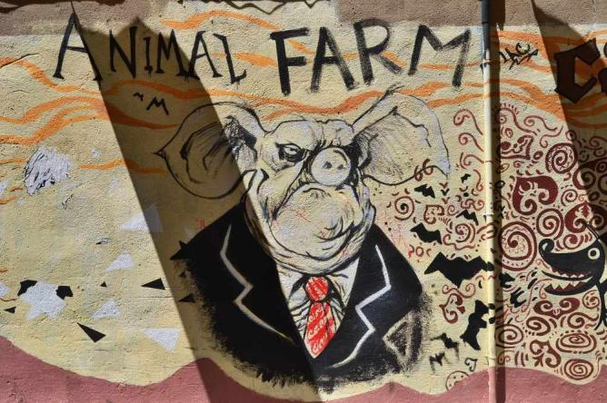 "an analysis of animal farm by george orwell as political satire ""all animals are equal, but some animals are more equal than others"" ― george orwell, animal farm."