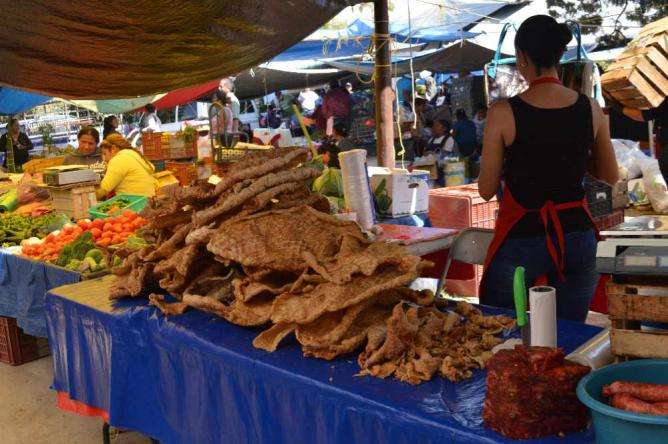 Pile of chicharrones at El Tianguis de los Martes / ©Maya Sankey-Black