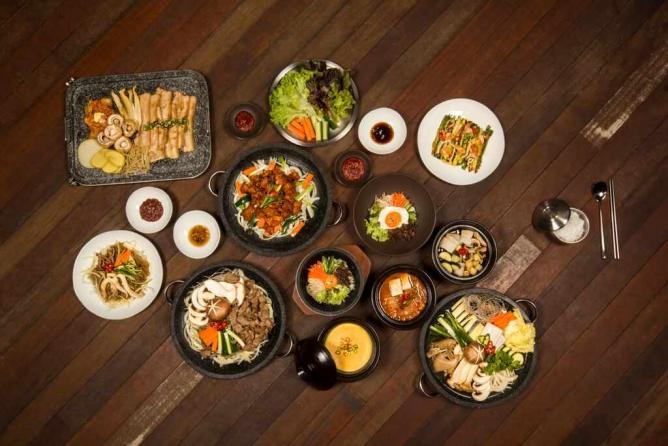 Korean banchan appetizers, Korean barbecue, kimchi