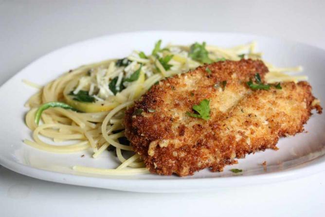 Parmesan Crusted Chicken Picatta | © alanagkelly/Flickr