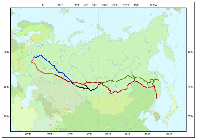 The route of the Trans-Siberian Railway © Stefan Kühn/WikiCommons