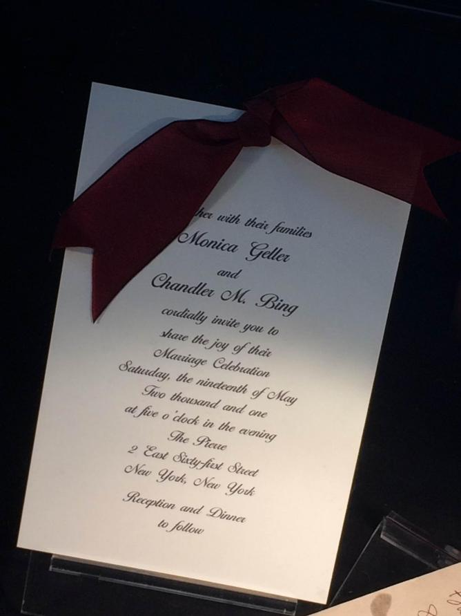 Exclusive props are on set, including Monica & Chandler's wedding invite © Ellie Griffiths