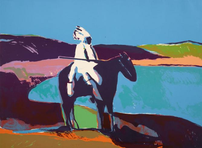 Fritz Scholder, Indian at the Lake, 1977. Lithograph; overall: 22 × 32-1/4 in. Denver Art Museum: Gift of Dr. and Mrs. Harold Dinken, 1979.159 | © Estate of Fritz Scholder