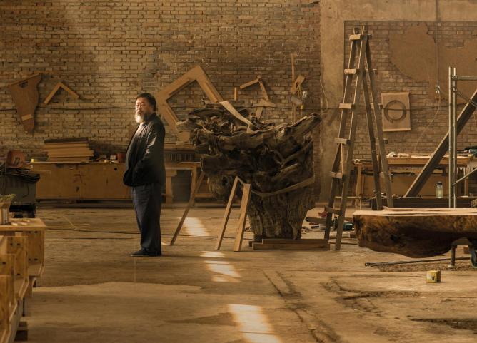 Ai Weiwei in his studio in Beijing, taken in April 2015   © Harry Pearce/Pentagram, 2015