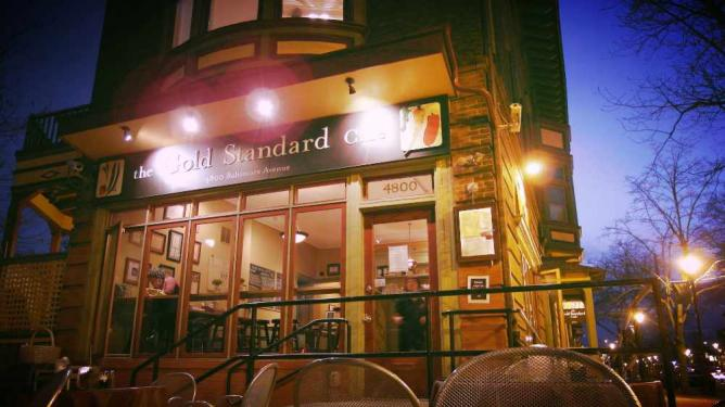 The front entrance of The Gold Standard Cafe.