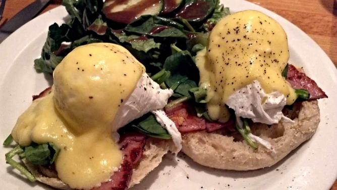 The Eggs Benedict plate at Ants Pants Cafe.
