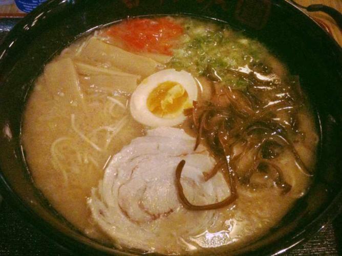 A ramen bowl with traditional made noodles and hard boiled egg at Terakawa Ramen.