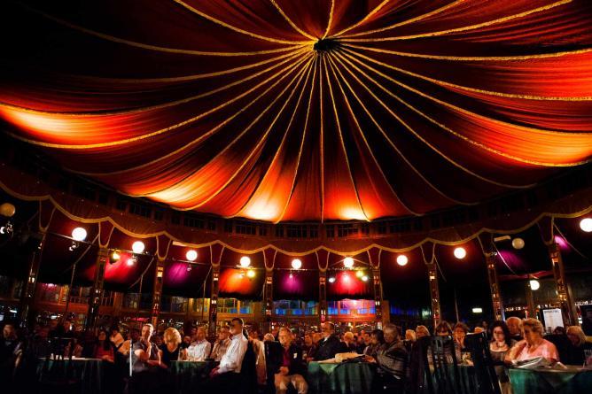 Inside the opulent splendour of the Spiegeltent | Courtesy of McPhersonStevens and Cheltenham Festivals