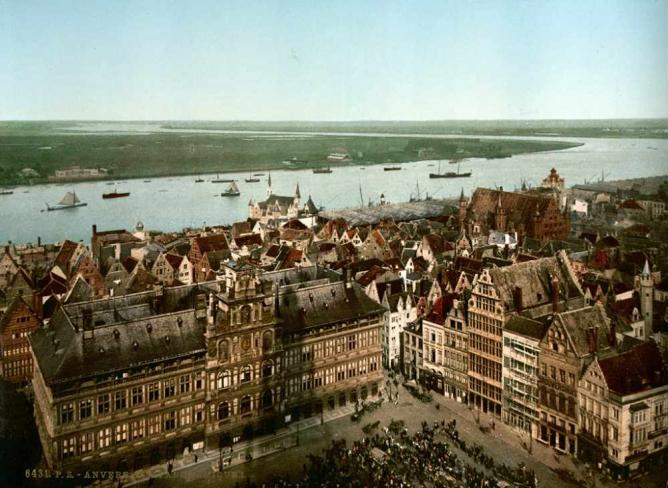 Antwerp and the river Scheldt (ca. 1890-1900)